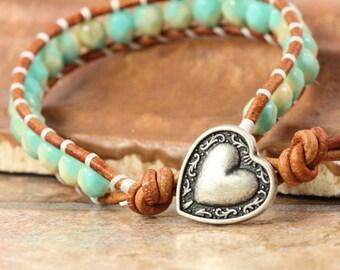Aqua Green Leather Bracelet Cream Wrap Bracelet Silver Heart Jewelry Summer Fashion Beach Jewelry Bohemian Wrap Bracelet Boho Chic Jewelry