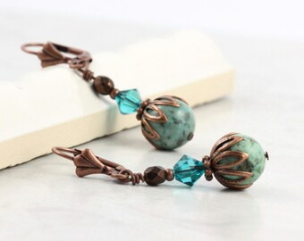 Southwest Turquoise Earrings Blue Crystal African Turquoise Gemstone Copper Ear Wires Mothers Day Jewelry