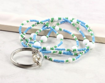 Blue Badge Holder Green ID Lanyard Office Fashion White Badge Lanyard Beaded Badge Holder Silver ID Necklace Badge Leash Gift for Coworker