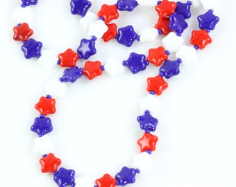 Patriotic Lanyard, Red White Blue Eyeglass Holder, USA Stars July 4th, Memorial Day Gift