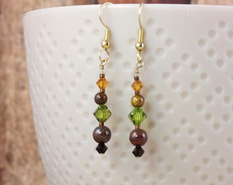 Tiger Iron Earrings with Olive Garnet and Topaz Crystals