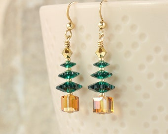 Christmas Tree Earrings, Crystal with Gold or Silver