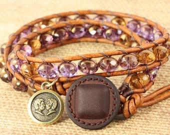 Gemini Bracelet, June Birthday Gift, Zodiac Jewelry, Astrology Jewelry, Gemini Star Sign, Leather Bracelet, Zodiac Bracelet, Gemini Jewelry
