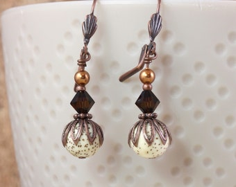 Speckled Buri Bead Earrings with Copper Accents
