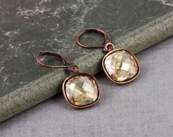 Bridal Jewelry Simple Dangle Earrings Wedding Earrings Golden Crystal Earrings Old Fashioned Earrings Copper Drop Earrings Fashion Jewelry