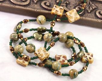 Brown Badge Lanyard Green ID Holder Gemstone ID Necklace Office Fashion Pyrite ID Lanyard Bronze Badge Leash Cream Badge Boho Accessories