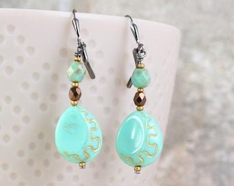 Seafoam Green Dangle Earrings with Golden Etching