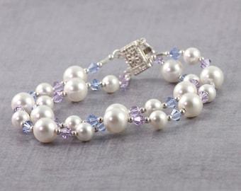 Lavender Wedding Bracelet / Pearl Bracelet / Baby Blue Jewelry / Bridal Jewelry / Box Clasp Bracelet / Bridesmaid / Mother of the Bride