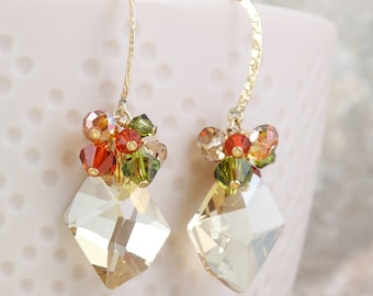 Champagne Cluster Golden Earrings with Autumn Crystals
