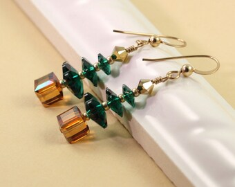 Coworker Gift Idea  Christmas Jewelry Christmas Tree Earrings Copper Crystal Tree Earrings Gold Holiday Jewelry Holiday Tree Earrings