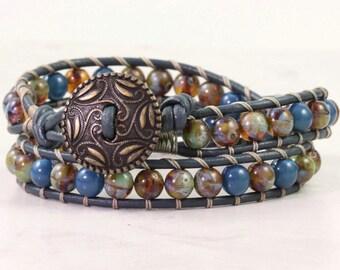 Blue Wrap Bracelet Bohemian Jewelry Sage Green Czech Glass Bracelet Leather Jewelry Gift for Mom or Girlfriend