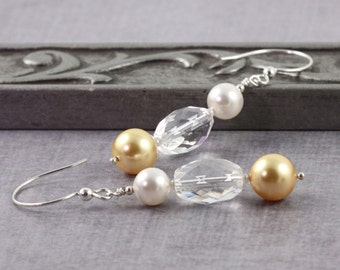 Champagne Gold Pearl Earrings, Crystal Quartz Jewelry, Winter Wedding, Gold and White, Mother of the Bride, Sterling Silver Ear Wires