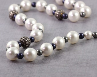 Mother of the Bride Necklace Blue and Gray White Pearl Jewelry Sterling Silver Necklace Wedding Jewelry, June birthstone