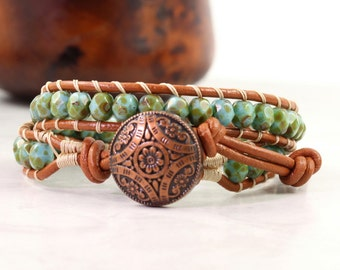Leather Wrap Bracelet for Women, Sea Green and Copper