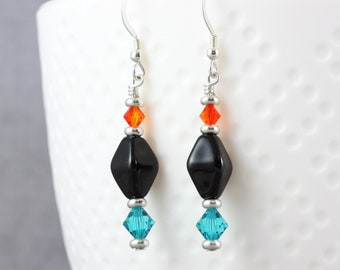 Zircon and Fire Opal Crystal Earrings with Sterling Ear Wires