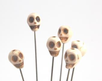 6 Howlite Skull Pins -  bone color - voodoo - XL