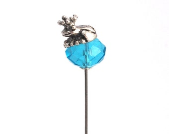 Frog Prince on facetted Glass Pin comes with silver plated clutch
