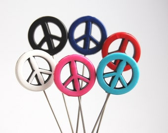 Peace Sign Pins - Set of 6  x-tra long