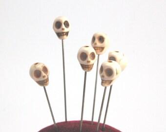 Howlite Skull Straight Pin - Set of 6 extra long bone color voodoo pins