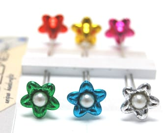 Metalic Flower sewing pins - set of 6 medium long pins