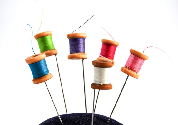 Sewing Thread Spool Pin Topper Set of 6 - gift for sewers
