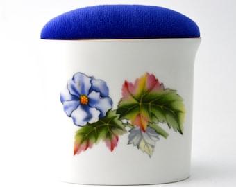 Pincushion ' Floral ' Royal Worcester fine bone china - Vintage item repurposed