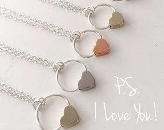 ROSE GOLD P.S. I Love You simple charm necklace with rose gold heart charm