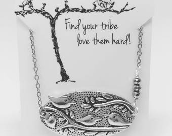 Gift for friend- Gift for family-Best friend gift- Find Your Tribe Love Them Hard Necklace pendant three birds