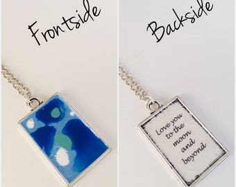 Love You to The Moon and Beyond Artist Series Inspirational Message Necklace