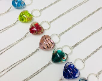 Blown Glass Beauties-heart pendant necklace-gift for her-valentines gift
