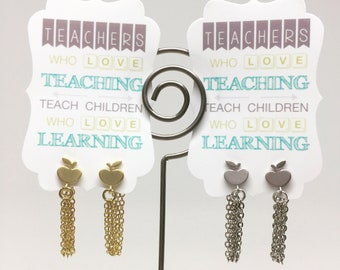 Teacher Apple Chain Hoop Earrings