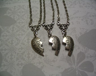 Mother and 2 Daughters Necklaces Jewelry Gift