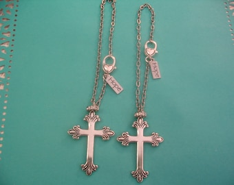 Two Cross Rear View Mirror Car Hope Charms Charms for Mother Daughter Sisters or Friends Gift