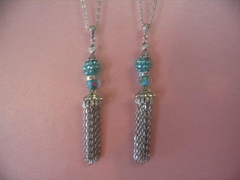 2 Turquoise Pave Crystal Bead Tassel Necklaces for Mother Daughter Sisters Friends or Aunt and Niece JewelryGift