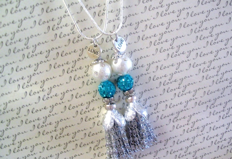 Sisters Jewelry Gift Friends 2 Turquoise Beaded Tassel Necklaces Mother Daughter
