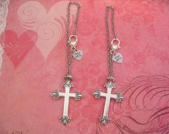 Two Cross Rear View Mirror Car Always With Me Charms Charms for Mother Daughter Sisters or Friends Gift
