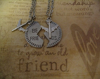 Best Friend Long Distance Friendship Necklaces with Airplane Charm