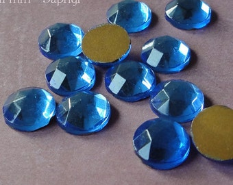 Vintage Cabochons - 11 mm Transparent Sapphire Blue - W German Faceted Glass Stones, Round Rauten Rose Flat Back Gems with Gold Foil (6 pc)