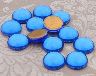 Vintage Cabochons - 13 mm Saphyr or Sapphire Blue - 6 West German Glass Stones