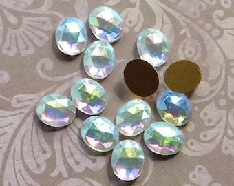 6 Vintage Matte Crystal Glass Cabochons 10mm x 8mm cab869G