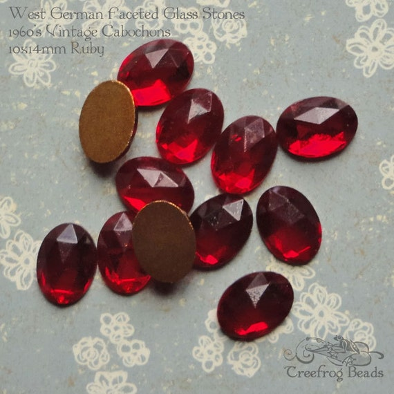 wire work /& costume jewelry repair. 6 faceted amethyst glass cabochons.Vintage West German 10x14 mm oval stones for beadwork