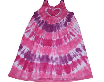 Tie Dye Dress in Shades of Pink and Magenta with a Pink Heart Empire Waist Sundress