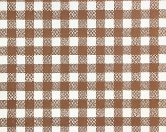 1970s Vintage Contact Paper Brown Gingham Wallpaper Peel And Stick By The Yard