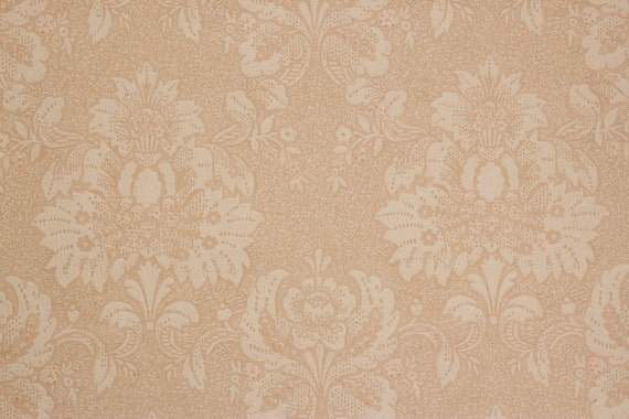 1930s Vintage Antique Wallpaper Textured Off White Damask On Beige By The Yard Made In England