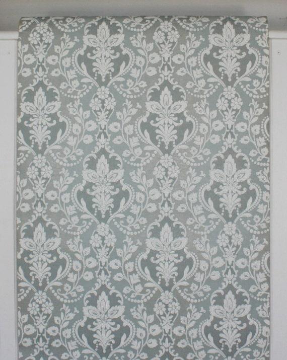 ... vintage des années 1960, papier damassé blanc sur fond verge bleu à la  verge fond d0465185334