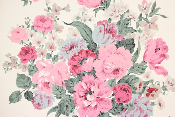 1960s Vintage Wallpaper Large Pink Rose Bouquet On White By The Yard