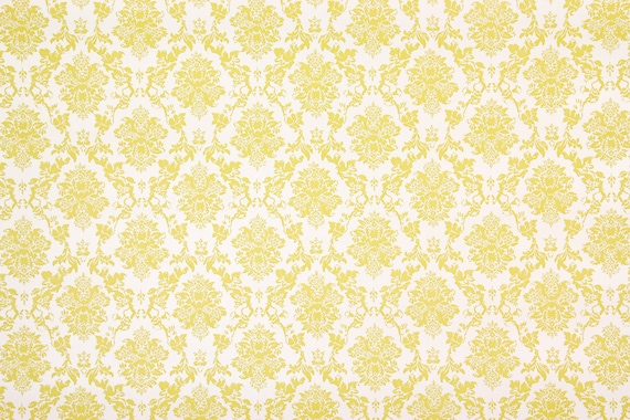 1970s Retro Vintage Contact Paper Small Yellow Damask