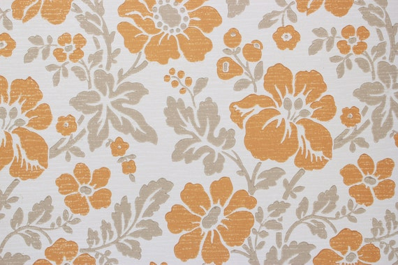 Papier Peint Vintage Des Annees 1960 Retro Fleurs Orange A Etsy