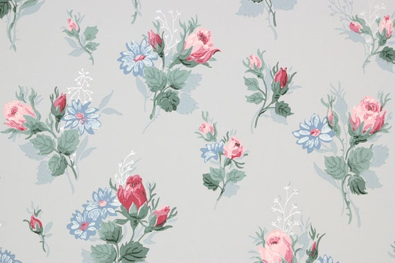1940s Vintage Wallpaper Pink Roses And Blue Flowers On Light