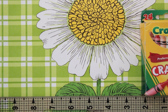 1970s Vintage Wallpaper Vinyl Large Sunflowers On Green Plaid By The Yard